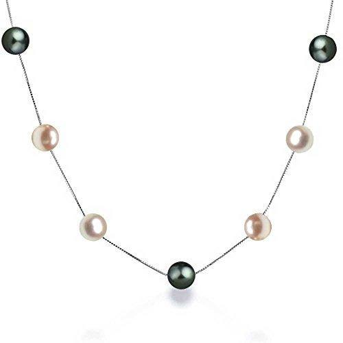 Simple Multi Color Pink Black Freshwater Cultured Pearl Tin Cup Necklace For Women 925 Sterling Silver 16 Inch