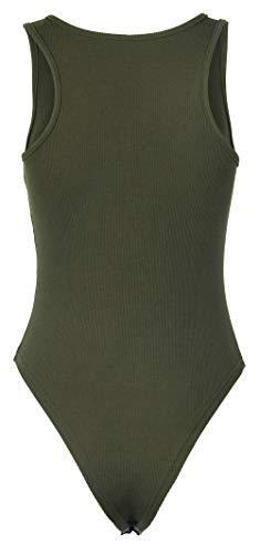 PALINDA Women's Sleeveless Racerback Tank Top Button Down Knitted Ribbed Stretchy Bodysuit(M,Army Green)