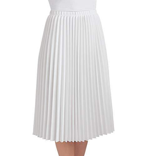 Women's Classic Pleated Mid-Length Jersey Knit Midi Skirt with Comfortable Elastic Waistband, White, Medium - Made in The USA