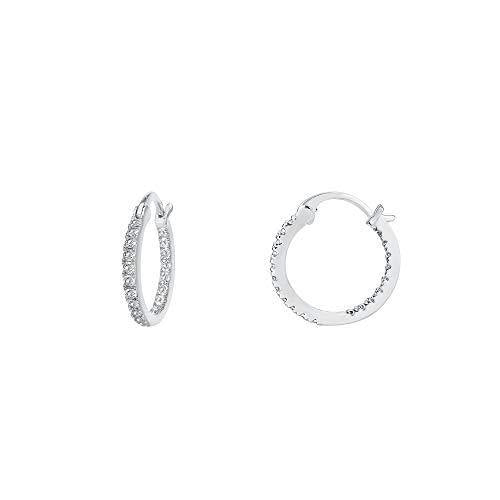 PAVOI 14K Gold Plated 925 Sterling Silver Post Cubic Zirconia Hoop Earrings | Small White Gold Hoops
