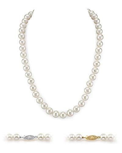 "THE PEARL SOURCE 14K Gold 9-10mm AAA Quality White Freshwater Cultured Pearl Choker Necklace for Women in 16"" Length"