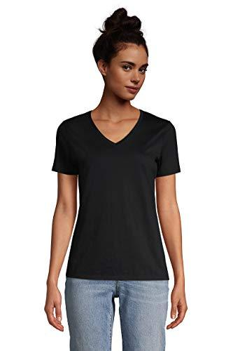 Lands' End Women s SS Relaxed Supima V Neck T Shirt Black Plus 3X