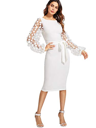 SheIn Women's Elegant Mesh Contrast Bishop Sleeve Bodycon Pencil Dress Medium White#3