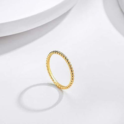 Valloey 14K Gold Thin Beaded Rings, Full Bead Sterling Twisted Rope Wedding Band Stacking Ring for Women(RING-Bead-5)