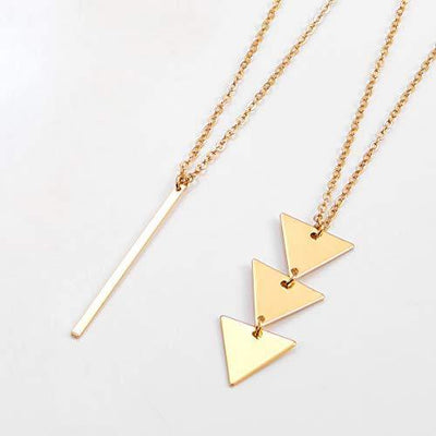 Fesciory 2 PCS Long Pendant Necklace for Women, Gold Bar Triangle Y Necklace Jewelry Set for Girls(2 Pcs Set)