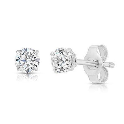 14k White Gold Solitaire Round Cubic Zirconia Stud Earrings with Gold butterfly Pushbacks (3mm)