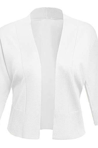 AAMILIFE Women's 3/4 Sleeve Cropped Cardigans Sweaters Jackets Open Front Short Shrugs for Dresses White L - PRTYA