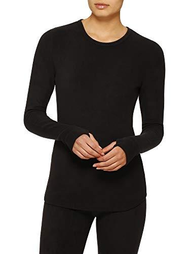 ClimateRight by Cuddl Duds Womens Stretch Fleece Long Sleeve Crew Top / Shirt (L, Black) - PRTYA