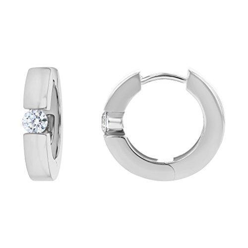 Olivia Paris 14k White Gold Solitaire Huggie Earrings (1/4 cttw, H-I Color, SI1-SI2 Clarity) .55""