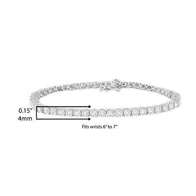 .925 Sterling Silver 1.0 Cttw Miracle-Set Diamond Round Faceted Bezel Tennis Bracelet (I-J Color, I3 Clarity) - 7""