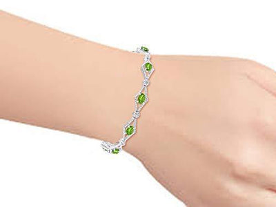 "Stunning Peridot & Diamond Tennis Bracelet Set in Sterling Silver - Adjustable to fit 7"" - 8"" Wrist"