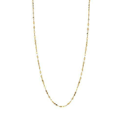 "10K Solid Gold 2.0MM Diamond Cut Mirror Chain Necklace -Unisex Sizes 14""-30"" (Yellow, 18)"