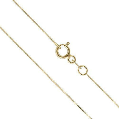 14K Thin Solid Yellow Gold 0.5mm Box Chain Necklace - 16 Inches