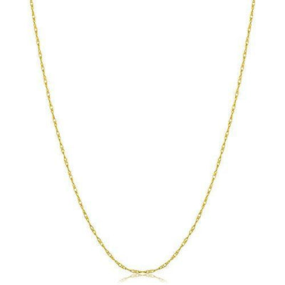 Kooljewelry Solid 10k Yellow Gold Rope Chain Necklace (0.8 mm THIN, 14 inch) - VERY THIN and LIGHTWEIGHT