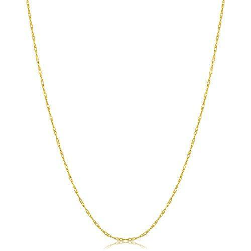Kooljewelry Solid 14k Yellow Gold Dainty Rope Chain Necklace (0.8 mm, 16 inch) - THIN and LIGHTWEIGHT