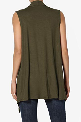 TheMogan Women's Sleeveless Waterfall Jersey Cardigan Asymmetric Vest Olive S
