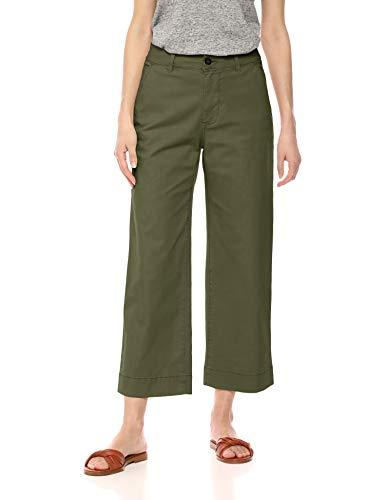 Amazon Brand - Daily Ritual Women's Washed Chino Wide Leg Pant, Olive, 14 - PRTYA