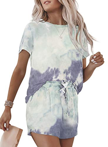 ROSKIKI Women Summer Tie Dye Print Two Piece Outfit Short Sleeve Round Neck Shirt Top with Belt Shorts Sky Blue L