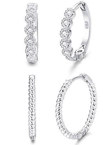 Milacolato 2Pairs Sterling Silver Small Hoop Earrings for Women Cubic Zirconia Huggie Stud Cartilage Helix Cuff Earrings