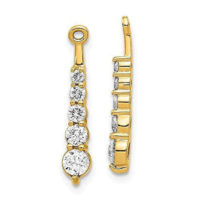 14k Yellow Gold Diamond Earrings Jacket Fine Jewelry For Women Gifts For Her