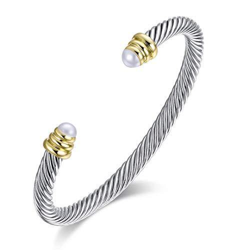 Brass Alloy Cable Wire Composite Shell Pearl Cuff Bracelet