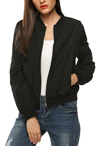 Zeagoo Womens Classic Quilted Jacket Short Bomber Jacket Coat Black Plus size