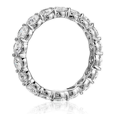 AINUOSHI 925 Sterling Silver Ring 4mm Round Cut Cubic Zirconia CZ Eternity Engagement Wedding Band Ring (7.5)