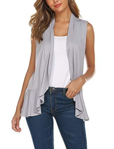 Zeagoo Women's Sleeveless Draped Open Front Cardigan Vest with Ruffled Trim Hem Grey S