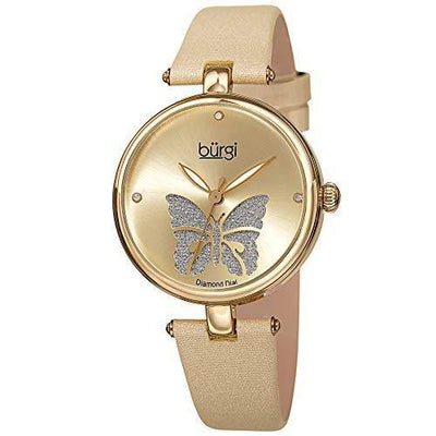 Burgi Designer Women's Watch – Pretty Butterfly Glitter Dial, Satin Over Genuine Leather - PRTYA