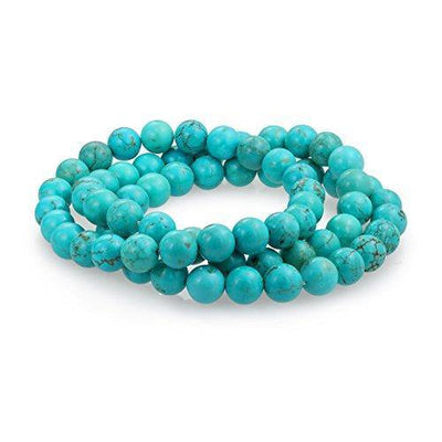 Bling Jewelry Simple Plain Set of 3 Stabilized Turquoise 8MM Ball Bead Stones Stackable Strands Stretch Bracelet for Women for Teen