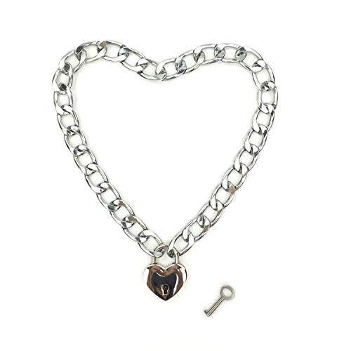 Intimate Lover Heart Chain Necklace Collar Heart Padlock Choker for Men, Women and Pet (Chrome, 16)
