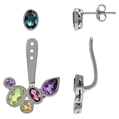 Silvershake Natural Multi Colored White Gold Plated 925 Sterling Silver Cluster Two Ways Stud and Ear Jacket Earrings