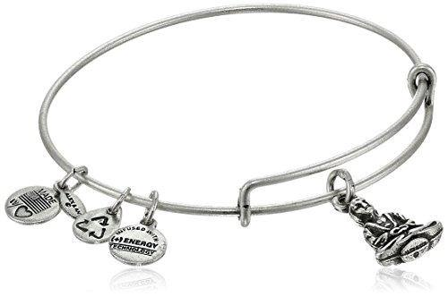 "Alex and Ani ""Bangle Bar"" Buddha Rafaelian Silver-Tone Expandable Wire Bangle Bracelet"
