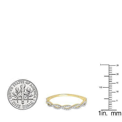 Dazzlingrock Collection 0.20 Carat (ctw) 10K Diamond Swirl Anniversary Wedding Band Stackable Ring 1/5 CT, Yellow Gold, Size 7