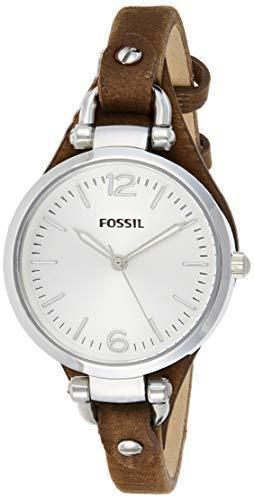 Fossil Women's Georgia Quartz Leather Casual Watch, Color: Silver, Brown, 8 (Model:
