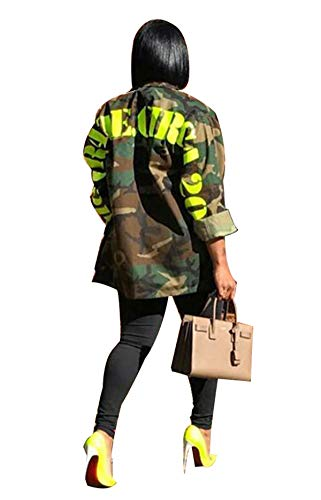 Women's Casual Military Camo Print Lightweight Coat Camouflage Longline Overcoat Safari Jacket Party Clubwear Army Fatigue Jackets L