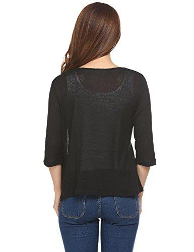 Concep Open Front Black Shrug Cropped Top Shirt Long Sleeve Wrap Cardigan for Women (Black, M) - PRTYA