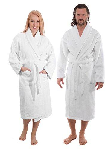Classic Turkish Towels Luxury Shawl Terry Bathrobe - Hotel and Spa Robe Made with 100% Turkish Cotton (Unisex, Large) - PRTYA