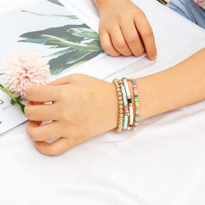 Colorful Beaded Bracelet for Women Heishi Bracelet Bohemian Assorted Bright Colored Gold Bead Stretch Strand Bracelet Set(Multicolor)