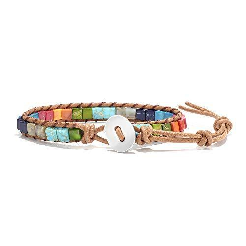 7 Chakra Weave Bracelets Wrap Bracelet Best Friend Charm Healing Bracelets Gemstone Bracelets Gem Bracelets Woven Bracelet Yoga Bracelets Multicolor Leather Bracelets Adjustable for Women Girls