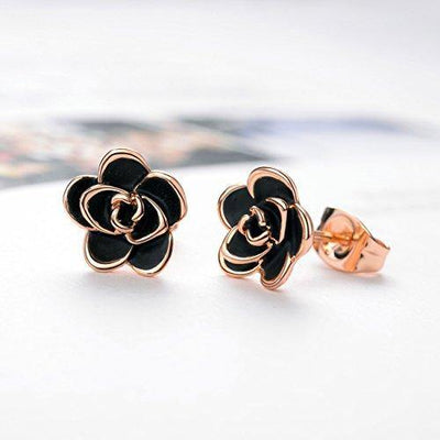 AllenCOCO 18K Gold Plated Black Rose Flower Stud Earrings for Women