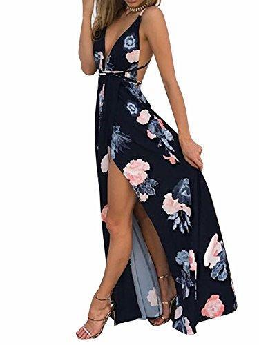 BerryGo Women's Sexy Deep V Neck Backless Floral Print Split Maxi Party Dress - PRTYA
