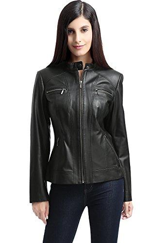 BGSD Women's Mila Zip Front Leather Jacket Black Large - PRTYA