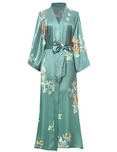 BABEYOND Floral Kimono Robe Satin Silk Wedding Robe 1920s Kimono Nightgown Sleepwear 53 Inches Long (Flower-Green) - PRTYA