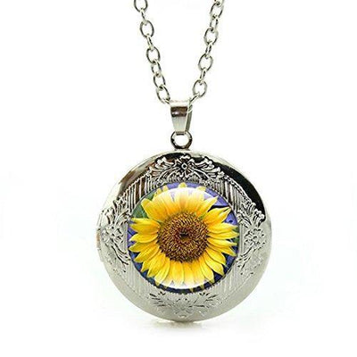 Women's Custom Locket Closure Pendant Necklace Sunflower Included Free Silver Chain, Best Gift Set