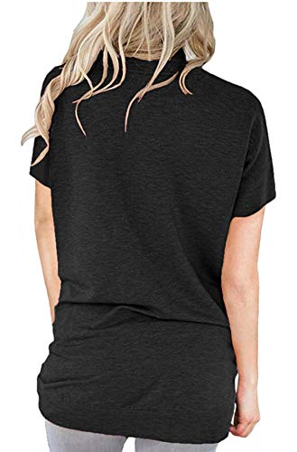 onlypuff Black Baggy Tops for Women Solid Tunic Tops Pocket T Shirt Short Sleeve XL