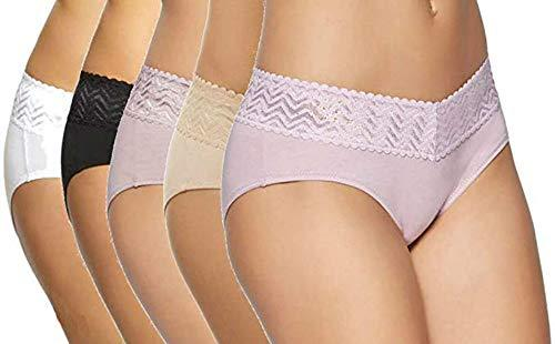 Gloria Vanderbilt Womens 5 Pack Full Coverage Lace Hipster (Beige Basics, L)