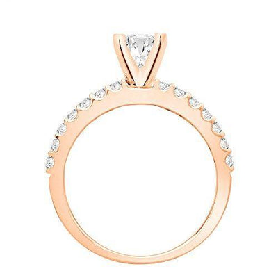 14K Rose Gold 1.13 CTW Classic Prong Set Diamond Engagement Ring w/ 0.7 Ct Pear Cut G Color SI1 Clarity Center