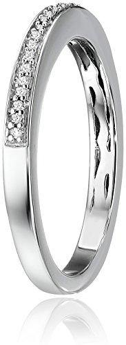 Jewelili Sterling Silver Diamond Anniversary Ring (1/20 cttw), Size 7