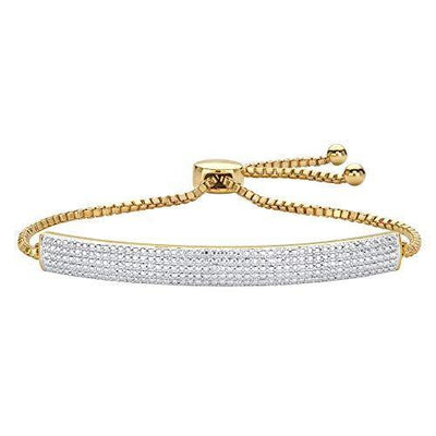 Palm Beach Jewelry 18K Yellow Gold Genuine Diamond Accent Adjustable Bolo Bracelet (5.25mm) 9""
